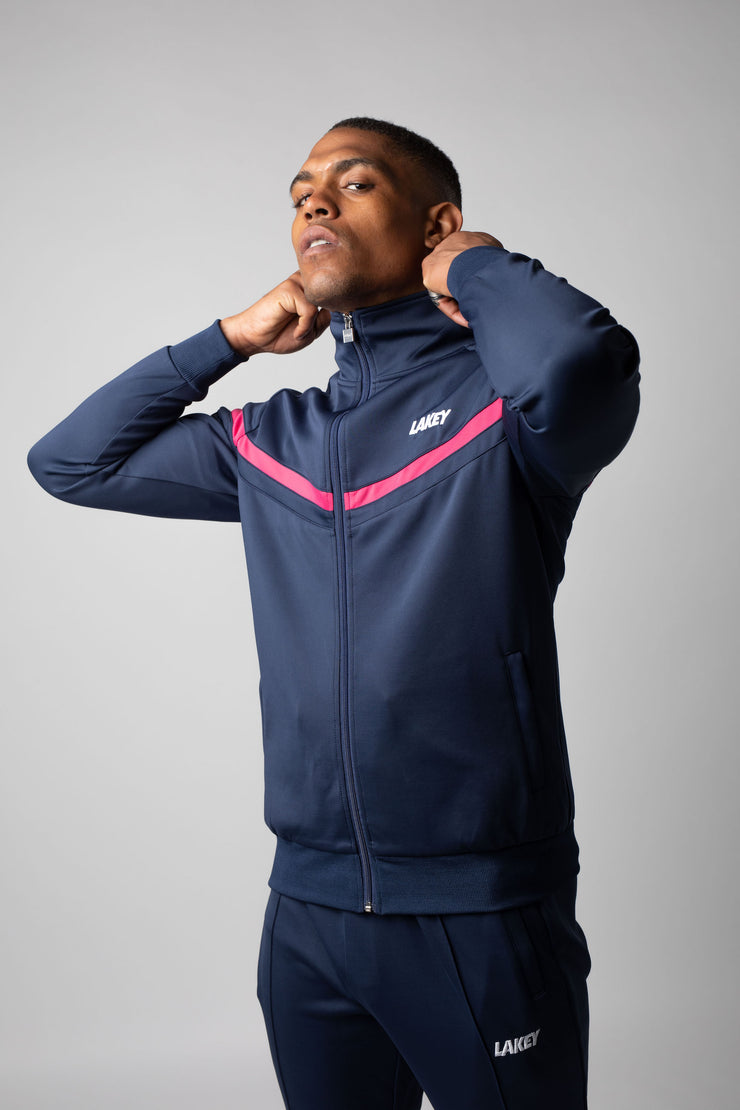 CHEVRON PLUS TRACKTOP NAVY/PINK - Lakey