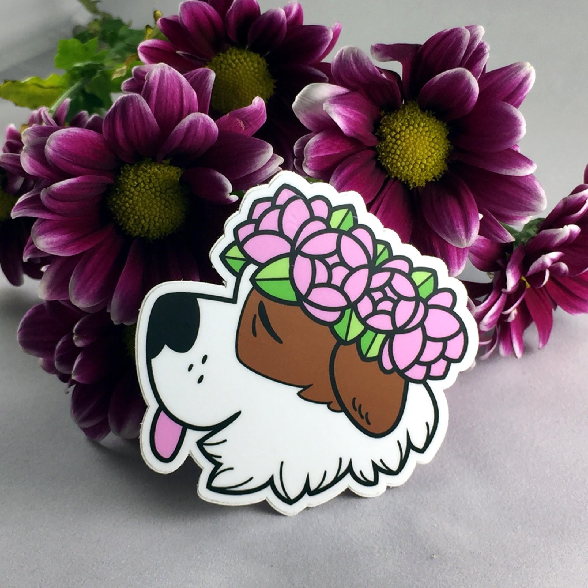 Flower Dog Stickers