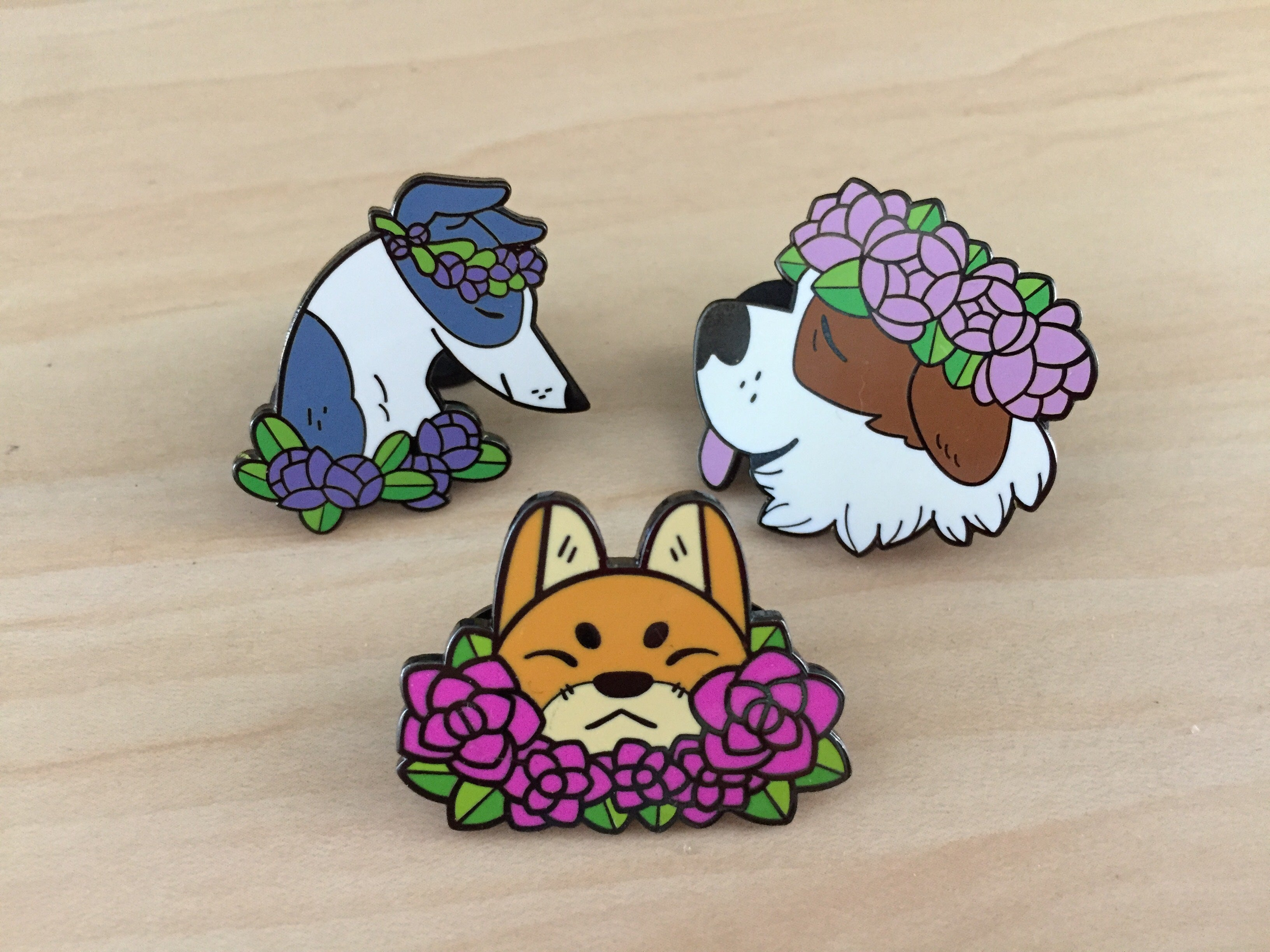 Flower Dogs Pin Set