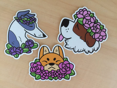 Flower Dog Sticker Set