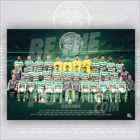 Celtic FC 2018/2019 Squad Poster - Official Licensed A3 Poster