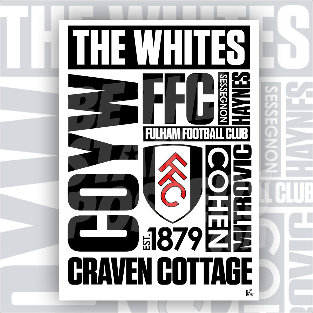 Fulham FC Word Poster - Official Licensed Poster