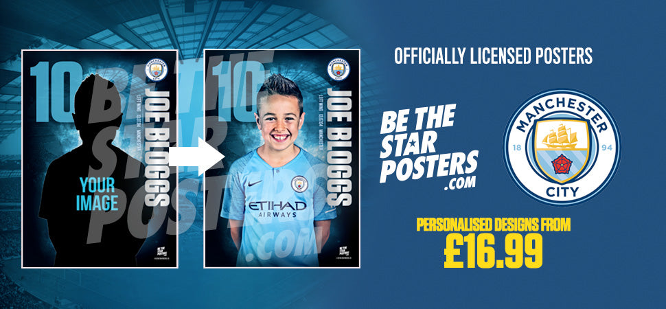 Manchester City Official Personalised Football and Sports Posters