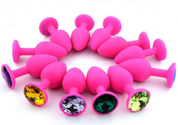 Pink Silicone Jeweled/GEM BUTT PLUG, ANAL PLUG SEX-TOYS FOR MEN +FREE PLUG-snaapit-snaapit