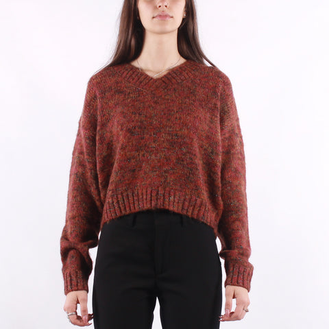 Maison Scotch - Cropped V-Neck In Space Yarn With Subtle Lurex - Red Sparklin