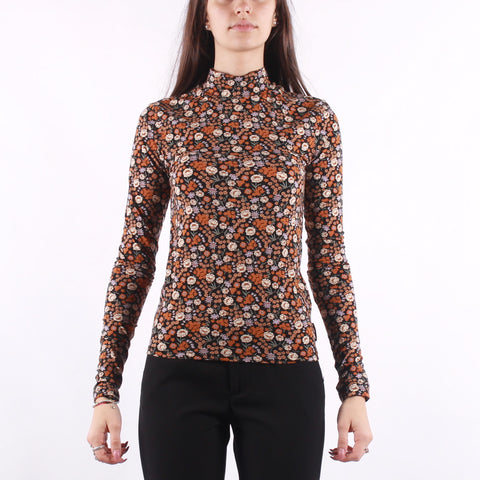 Maison Scotch - Printed Long Sleeve Tee With High Neck - Flower Multi
