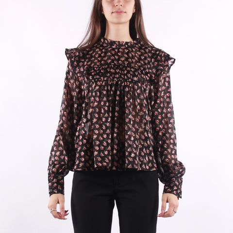 Maison Scotch - Printed Floral Top In Drapey Quality - Multi Floral