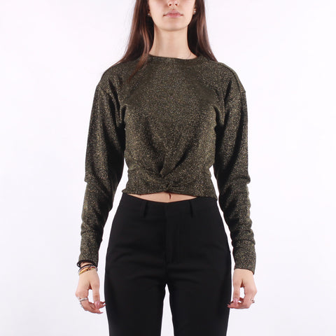 Maison Scotch - Cropped Knotted Long Sleeve Tee In Lurex Jersey Quality - Green Sparklin
