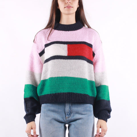 Tommy Jeans - Bell Sleeve Flag Sweater - Romantic Pink Multi