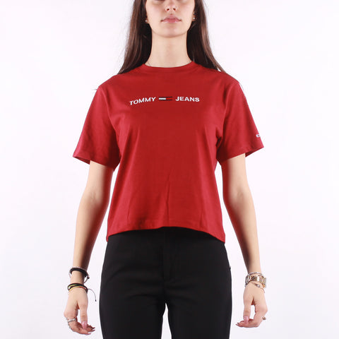Tommy Jeans - Modern Linear Logo Tee - Wine Red
