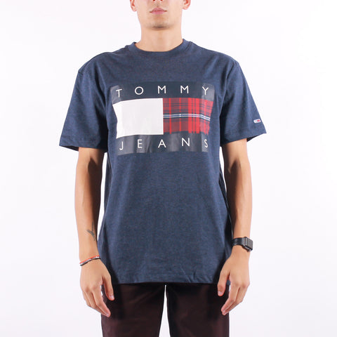 Tommy Jeans - Plaid Centre Flag Tee - Twilight Navy
