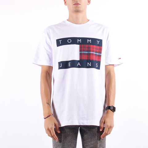 Tommy Jeans - Plaid Centre Flag Tee - White