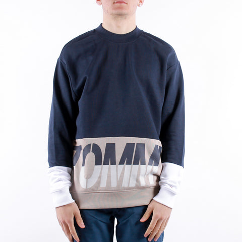 Tommy Jeans - Tjm Colorblock Logo Crew - Twilight Navy Multi