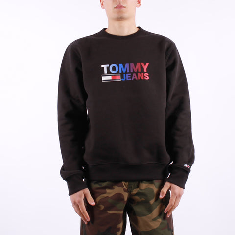 Tommy Jeans - Tjm Ombre Corp Logo Crew - Black