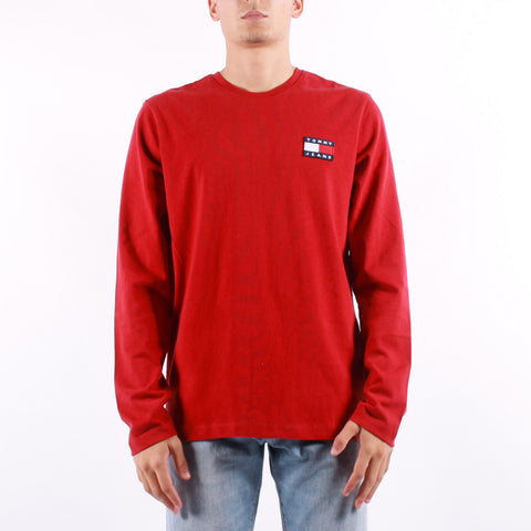 Tommy Jeans - Tommy Badge Long Sleeve Tee - Wine Red