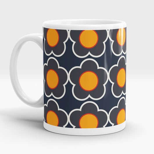 Mug ~ Retro Flower print design cheerful and bright