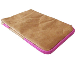 iPad cover ~ case with pink zip Original brown paper design fun and lightweight
