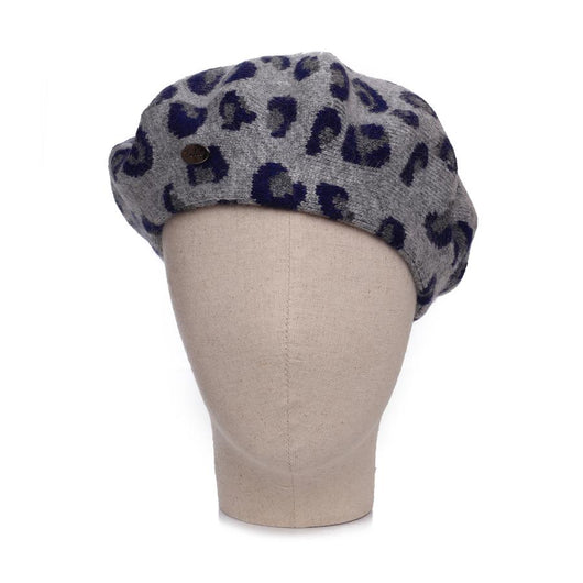 Hat ~ Zelly 5091 Beret Navy Animal two tone