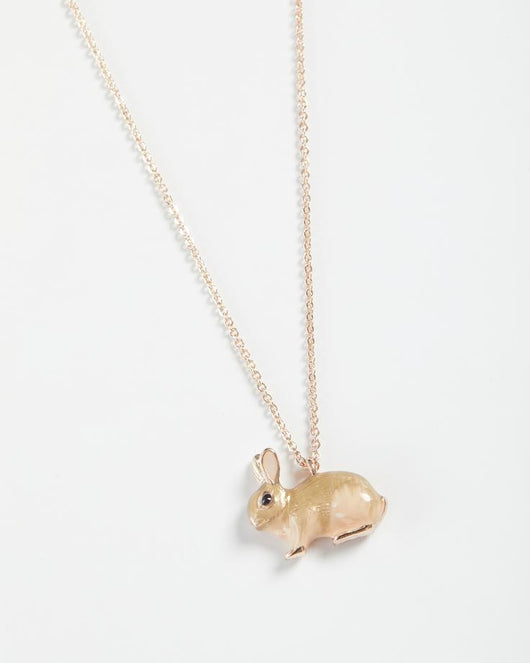 Jewellery ~ Fable 61628 Enamel & rose gold Rabbit Long Necklace