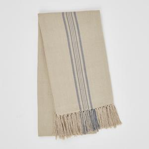 Weaver Green Blanket throw ~ Antibes Blue -100% recycled with the appearance of real French linen