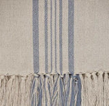 Weaver Green Blanket throw ~ Antibes Blue close up -100% recycled with the appearance of real French linen