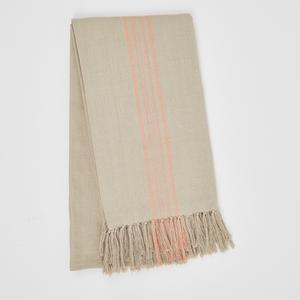 Weaver Green Blanket throw ~ Antibes Coral -100% recycled with the appearance of real French linen