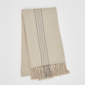 Weaver Green Blanket throw ~ Antibes Grey -100% recycled with the appearance of real French linen