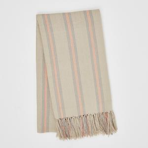 Weaver Green Blanket throw ~ Cannes Coral/Grey -100% recycled with the appearance of real French linen