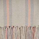 Weaver Green Blanket throw ~ Cannes Coral/Grey close up -100% recycled with the appearance of real French linen
