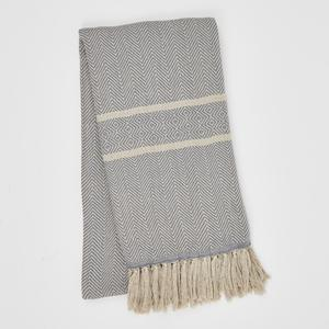 Weaver Green Blanket throw ~ Cassis Blue -100% recycled with the appearance of real French linen