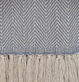 Weaver Green Blanket throw close up ~ Cassis Blue -100% recycled with the appearance of real French linen