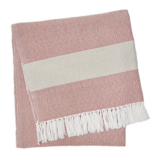 Blanket throw ~ Hammam - Coral - 100% recycled environmentally friendly