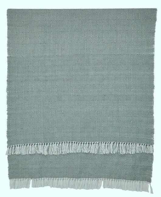 Blanket throw ~ Diamond - Dove Grey - on trend colour ethically produced