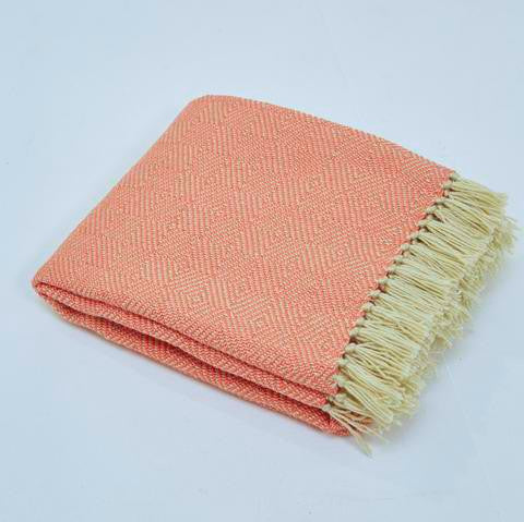 Blanket throw ~ Diamond - Coral/white - 100% recycled