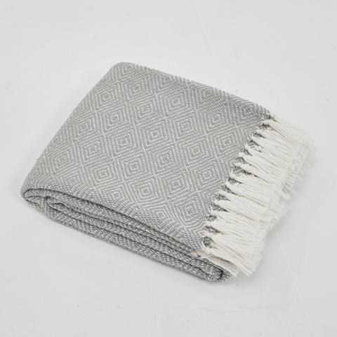 Weaver Green Blanket throw ~ Diamond - Dove Grey - on trend colour ethically produced
