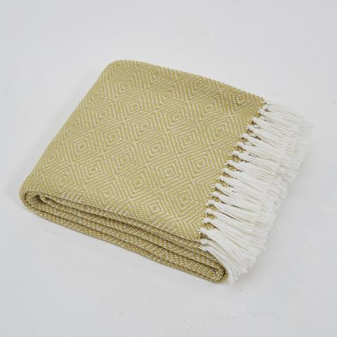 Weaver Green Blanket throw ~ Diamond - Gooseberry/white - stunning eco-friendly textile