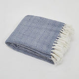 Weaver Green Blanket throw ~ Diamond - Navy/white coastal style interior