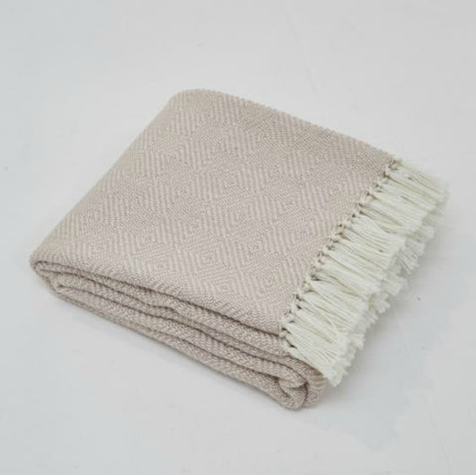 Blanket throw ~ Diamond - Shell - 230x130cm natural soft colour ethically produced