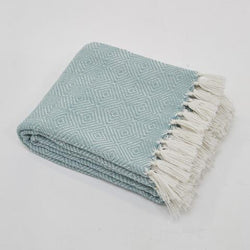 Weaver Green Blanket throw ~ Diamond - Teal/white - fresh inviting colour