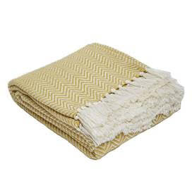 Blanket throw ~ Herringbone - Gooseberry/white - stunning eco-friendly textile