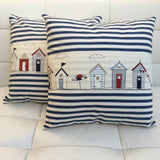 Cushion handmade Beach huts, umbrella and navy stripes 45x45cm - seaside living