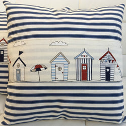 Cushion handmade Beach huts, umbrella and navy stripes 45x45cm - coastal home