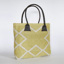 Bag ~ Juno range - Gooseberry -  handwoven bag 100% recycled soft feel of wool or jute