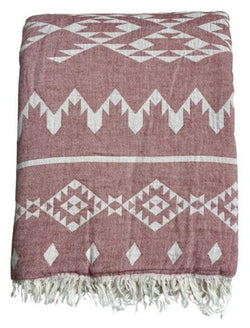 Fleece Throw ~  GHT08 Dakota Bordeaux geometric pattern cotton throw with fleece backing