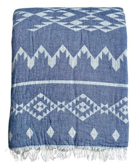 Fleece Throw ~  GHT07 Dakota Denim geometric pattern cotton throw with fleece backing