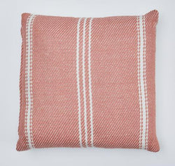 Oxford Stripe cushion - Coral - 45x45cm pretty colour ethically produced