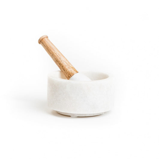 Mortar and Pestle ~ marble & wood