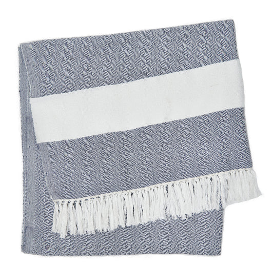 Blanket throw ~ Hammam - Navy - 100% recycled environmentally friendly