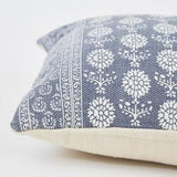 Close up of Cushion ~ Weaver Green Marigold Navy cushion 100% recycled 60 x 40cm