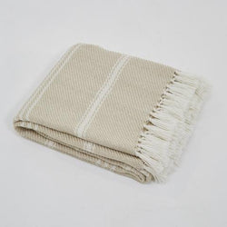 Blanket throw ~ Oxford stripe - Linen - eco-friendly classic design, colour and 100% recycled